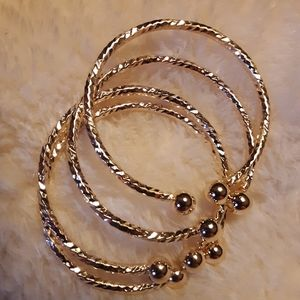 Other - 4!! GOLD TEXTURED BABY BANGLE BRACELETS NEW!